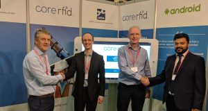 Spanset & CoreRFID at the recent LEEA Liftex 2018 Exhibition. left to right: Pete Ward (MD SpanSet), Richard Harrison (Sales Director CoreRFID), Martin Relton (Materials Handling Group Manager SpanSet) and Munzi Ali (MD CoreRFID).